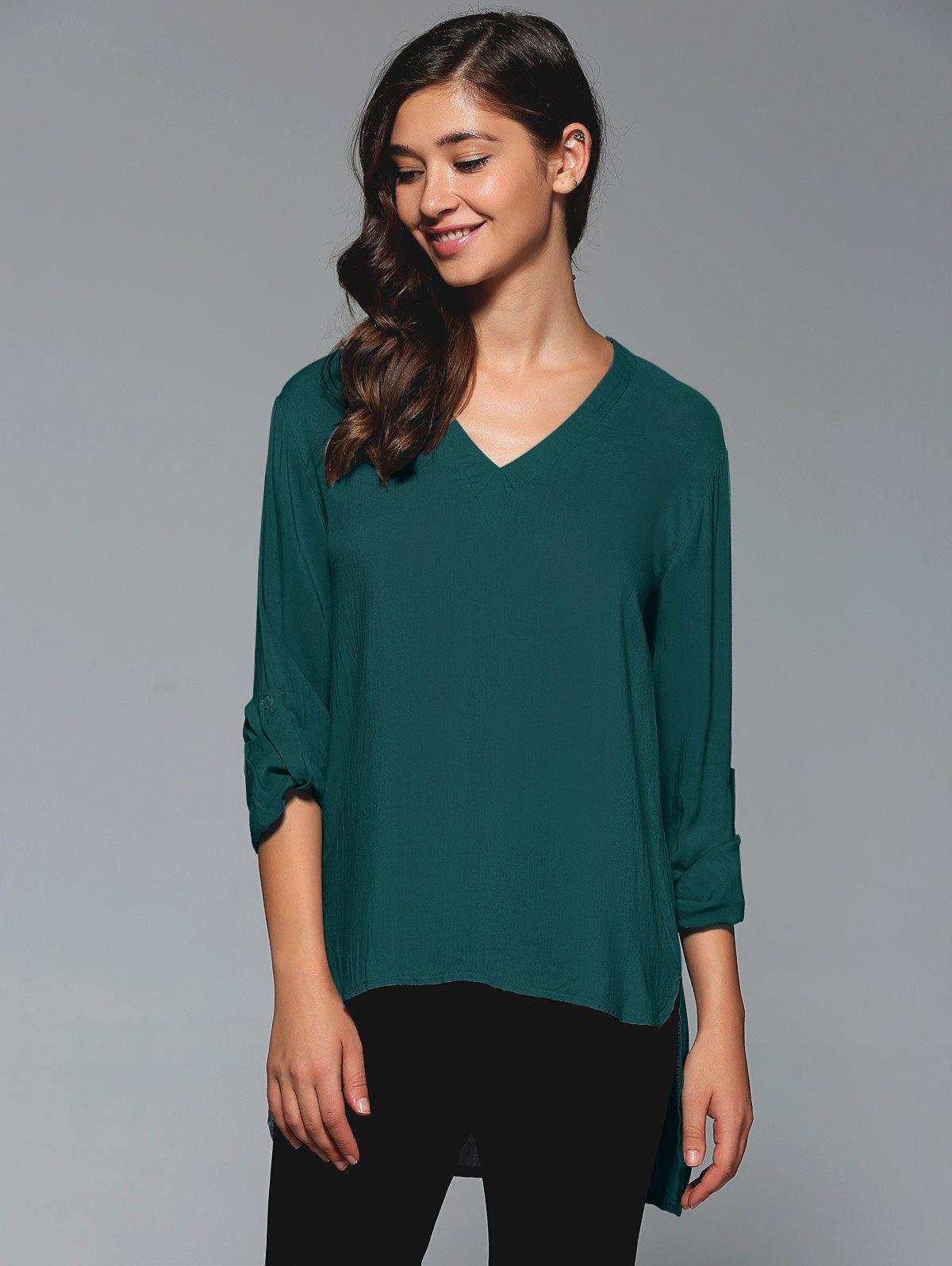 Sale V-Neck Asymmetrical Plain Blouse
