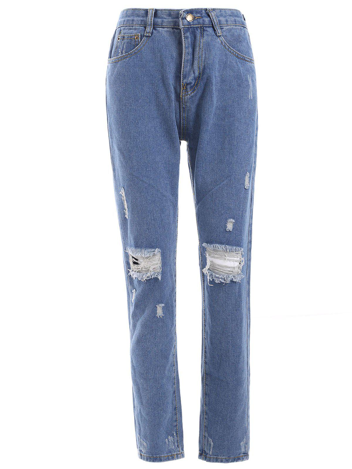 Shops Fresh Distressed Ripped Loose-Fitted Pencil Jeans