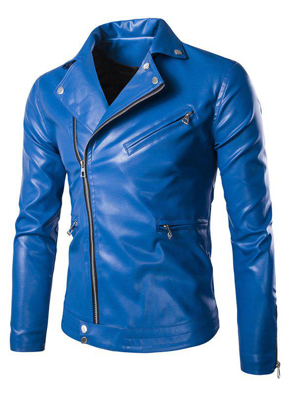 Hot Side Zipper-Up Turn-Down Collar Faux Leather Jacket
