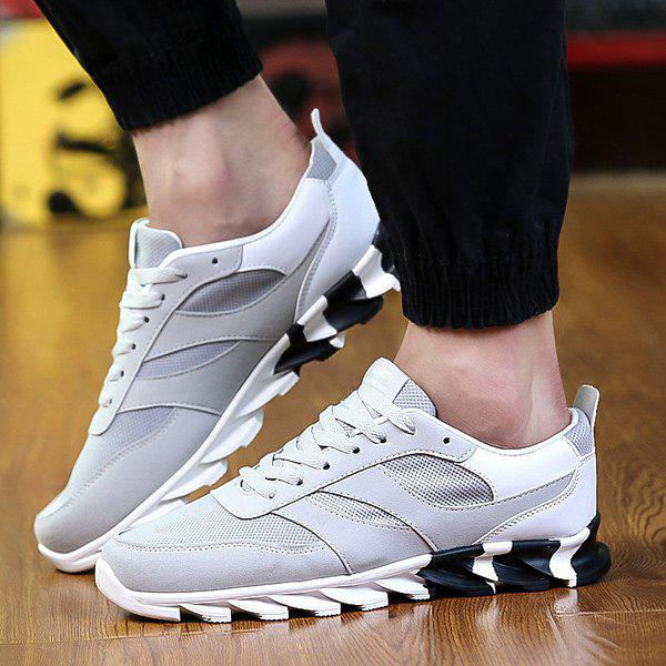 Fashion Lace-Up Mesh Suede Spliced Athletic Shoes