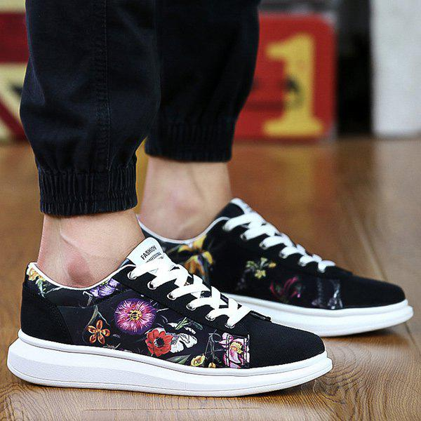 Store Suede Spliced Print Casual Shoes