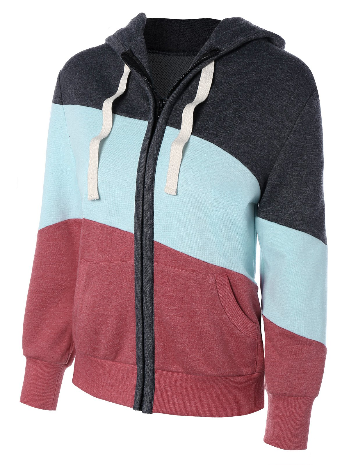 Outfit Long Sleeve Drawstring Patchwork Zip Up Hoodie
