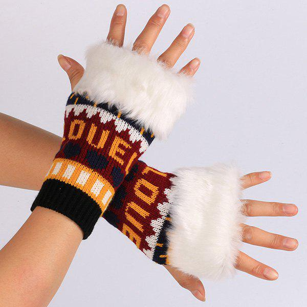 Outfits Pair of Knitted Love Letter Plush Fingerless Gloves