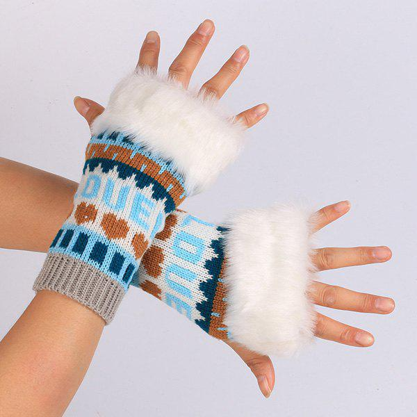 Pair of Knitted Love Letter Plush Fingerless GlovesACCESSORIES<br><br>Color: LAKE BLUE; Group: Adult; Gender: For Women; Style: Fashion; Glove Length: Wrist; Pattern Type: Heart; Material: Acrylic; Weight: 0.080kg; Package Contents: 1 x Gloves(Pair);