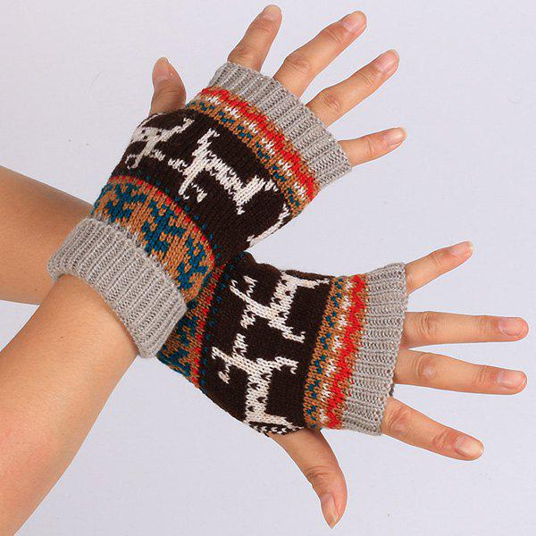 Warmer Knitted Deer Splicing Fingerless GlovesACCESSORIES<br><br>Color: GRAY; Group: Adult; Gender: For Women; Style: Fashion; Glove Length: Wrist; Pattern Type: Animal; Material: Acrylic; Weight: 0.052kg; Package Contents: 1 x Gloves(Pair);