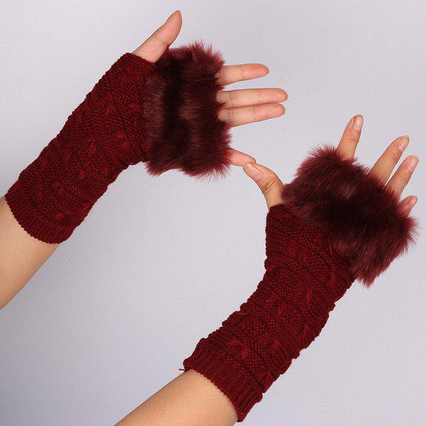 Winter Faux Rabbit Fur Knitting Butterfly Hand Fingerless GlovesACCESSORIES<br><br>Color: WINE RED; Group: Adult; Gender: For Women; Style: Fashion; Glove Length: Wrist; Pattern Type: Insect; Material: Acrylic; Weight: 0.073kg; Package Contents: 1 x Gloves(Pair);