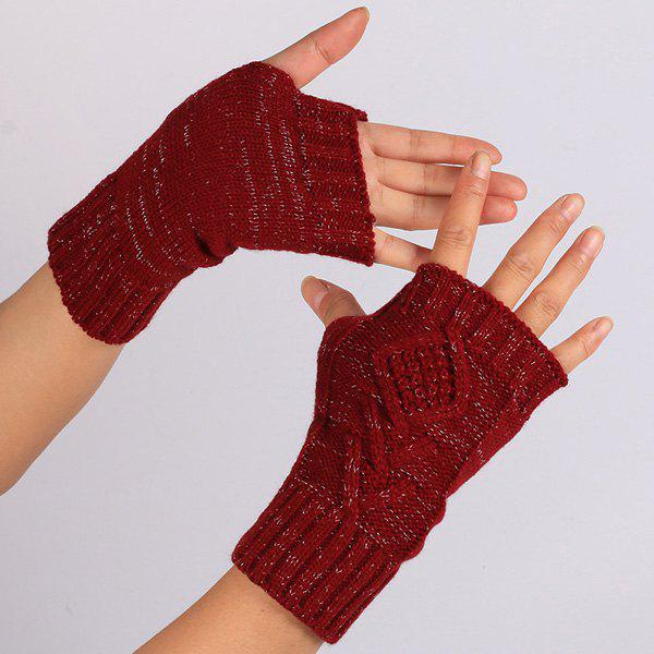 Shops 1 Pair Warm Rhombus Line Crochet Fingerless Gloves