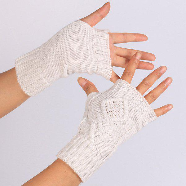 1 Pair Warm Rhombus Line Crochet Fingerless GlovesACCESSORIES<br><br>Color: OFF-WHITE; Group: Adult; Gender: For Women; Style: Fashion; Glove Length: Wrist; Pattern Type: Geometric; Material: Acrylic; Weight: 0.053kg; Package Contents: 1 x Gloves(Pair);