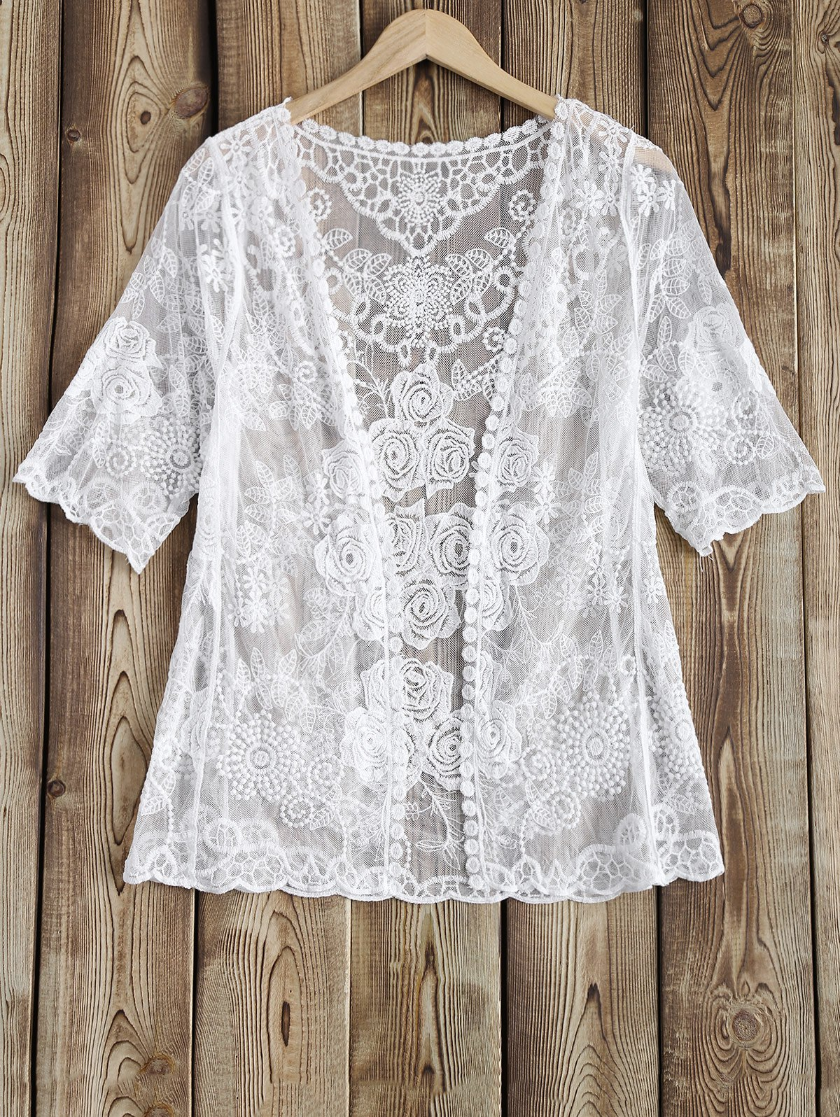 Outfit Rose Pattern See-Through Lace Cover Up