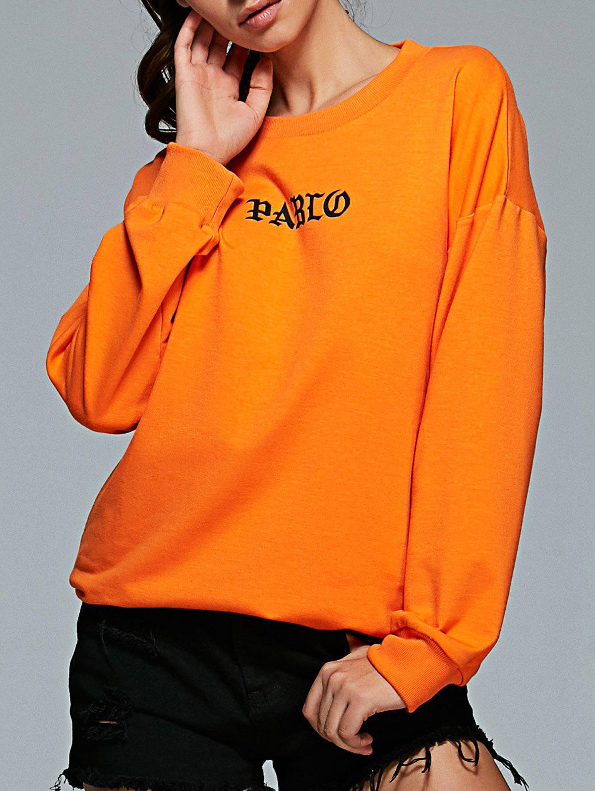 Fancy Active Round Neck Long Sleeve Letter Print Sweatshirt