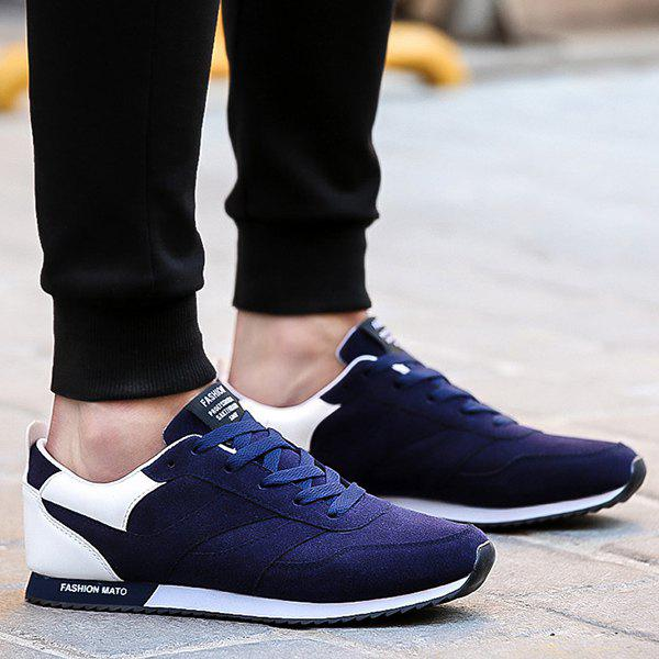 Fashion Colour Splicing Suede Tie Up Athletic Shoes