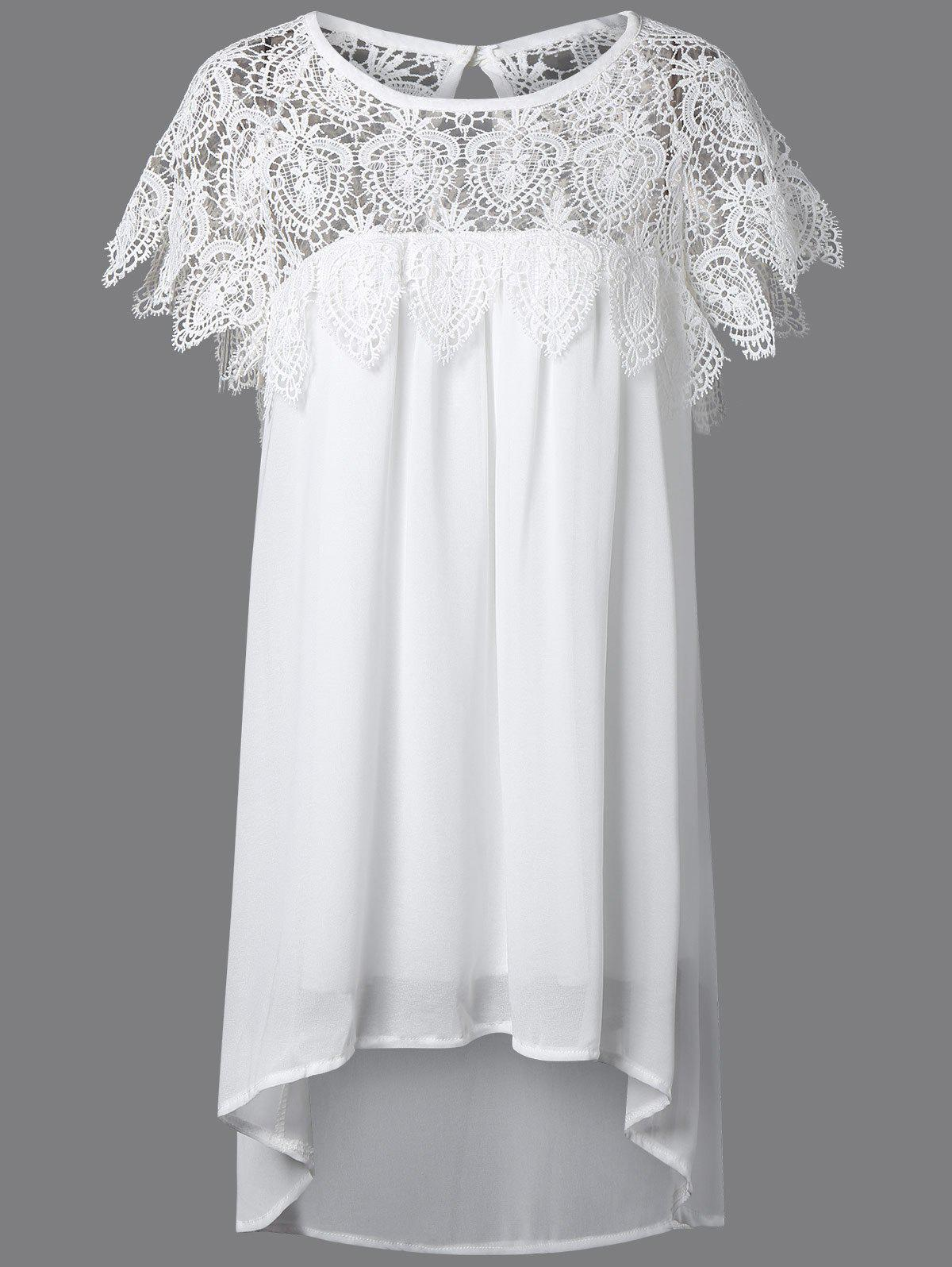 Lace Panel Chiffon Tunic Shift Summer DressWOMEN<br><br>Size: 2XL; Color: WHITE; Style: Casual; Material: Lace,Polyester; Fabric Type: Chiffon; Silhouette: Asymmetrical; Dresses Length: Mini; Neckline: Round Collar; Sleeve Length: Short Sleeves; Pattern Type: Patchwork; With Belt: No; Season: Summer; Weight: 0.2440kg; Package Contents: 1 x Dress;