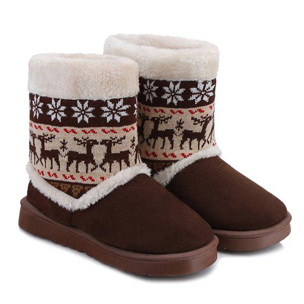 Fancy Knitted Snowflake Deer Flock Snow Boots