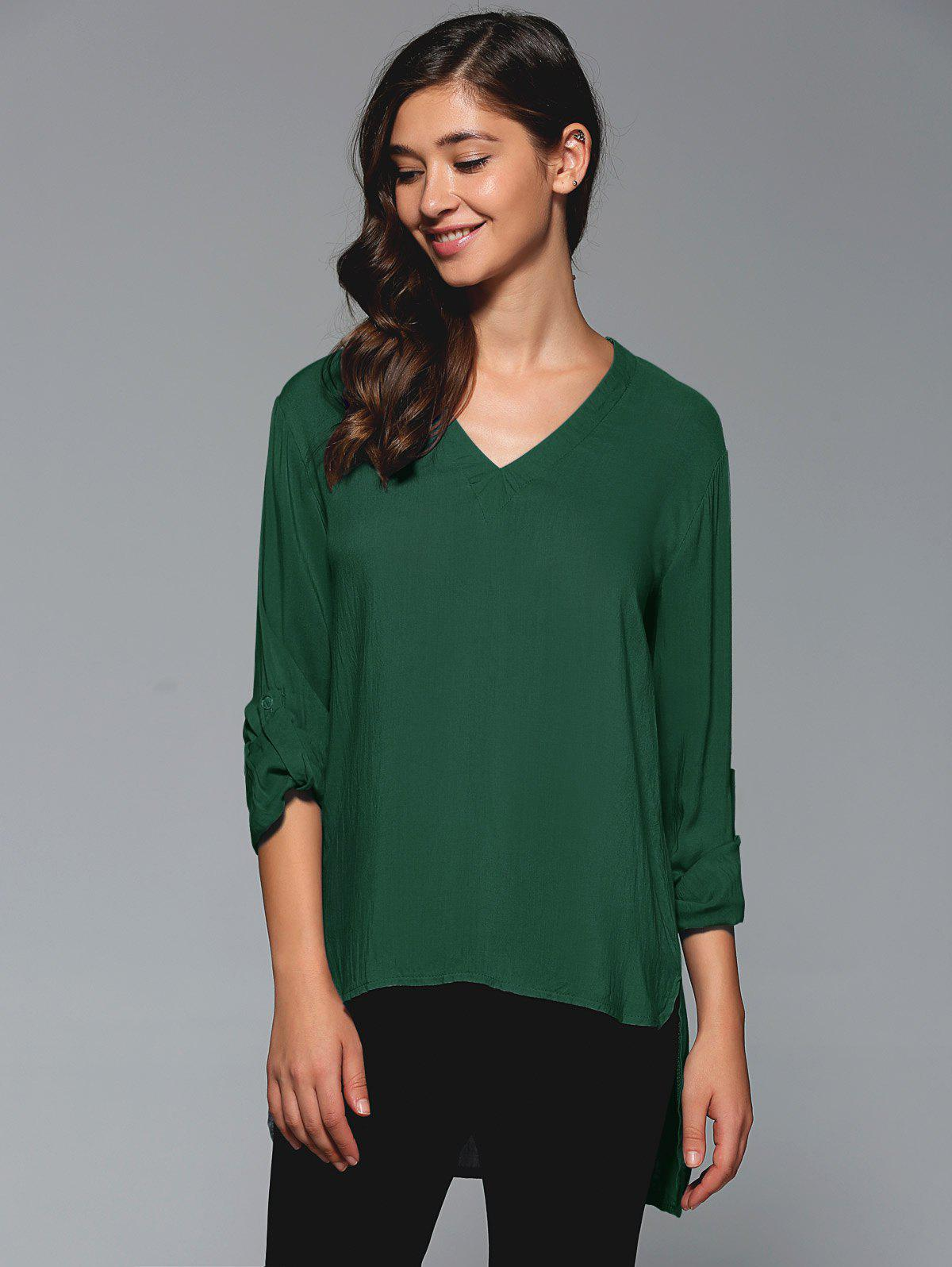 Best V-Neck Asymmetrical Plain Blouse