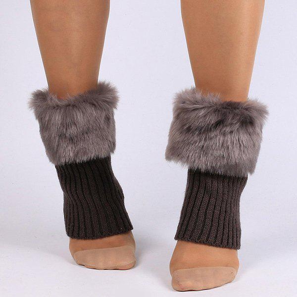 Thicken Faux Fur Edge Knitted Boot CuffsACCESSORIES<br><br>Color: GRAY; Type: Leg Warmers; Group: Adult; Gender: For Women; Style: Fashion; Pattern Type: Solid; Material: Spandex; Length(CM): 20; Width(CM): 11; Weight: 0.090kg; Package Contents: 1 x Leg Warmers(Pair);