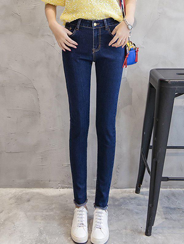 Cheap Slimming Fringed Mid Waist Jeans