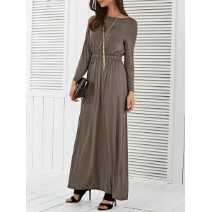 Long Sleeve Waisted Maxi Dress