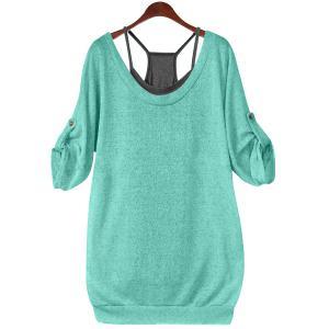 Stylish Scoop Neck Half Sleeve Hollow Out Front Lace-Up T-Shirt + Solid Color Tank Top Women's Twinset