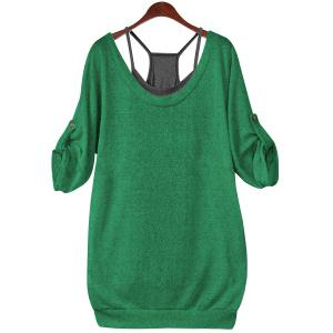 Stylish Scoop Neck Half Sleeve Hollow Out Front Lace-Up T-Shirt + Solid Color Tank Top Women's Twinset - Jade Green - 4xl