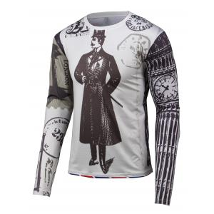 3D Gentleman Print Round Neck Long Sleeve T-Shirt