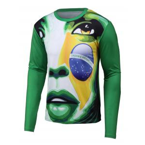Abstract 3D Print Round Neck Long Sleeve T-Shirt