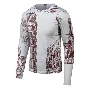 Hand-painted 3D Printed Round Neck Long Sleeve T-Shirt