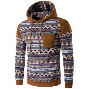 Color Block Tribal Printed Pocket Hooded Raglan Sleeve Hoodie - Coffee - M