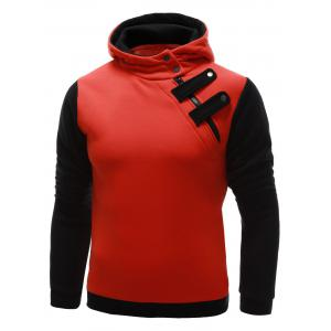 Inclined Zipper Color Block Hooded Long Sleeves Hoodie For Men - Orange - M