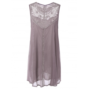 Embroidered Lace Insert Plus Size Casual Sleeveless Dress