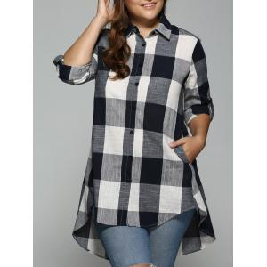 High Low Plus Size Long Plaid Boyfriend Shirt