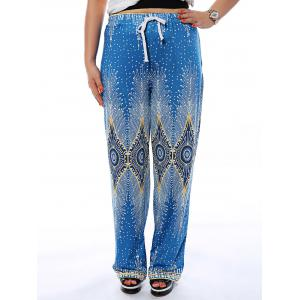 Drawstring Printed Flowy Loose Pants - Lake Blue - M