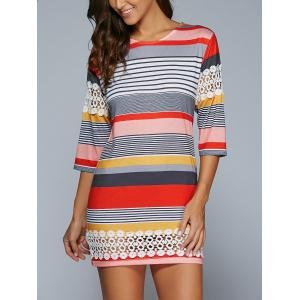 3/4 Sleeve Striped Lace Spliced Mini Shift Dress - Colormix - M