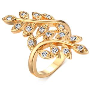 Wheatear Faux Zircon Ring - Golden - 8