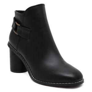 Zipper Dark Colour PU Leather Ankle Boots - Black - 39