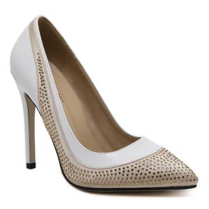 Pointed Toe Colour Splicing Rhinestones Pumps - White - 38
