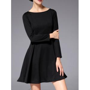 Slash Neck Long Sleeve Stretchy Work A-Line Dress