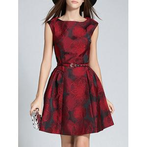 Boat Neck Jacquard A Line Semi Formal Dress - Wine Red - M