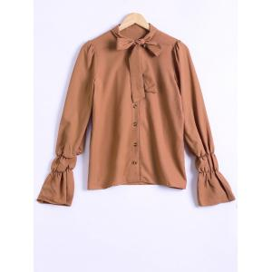 Vintage Pussy Bow Long Sleeve Shirt - Dark Khaki - L