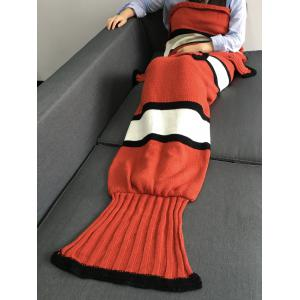 Super Soft Color Block Knitting Fish Tail Shape with Fins Design Blanket - Sweet Orange - M