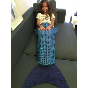 Stripe Pattern Fish Tail Design Knitted Blankets and Throws For Kid - Deep Blue - M