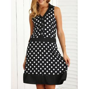 Polka Dot Buttoned Loose A-Line Dress