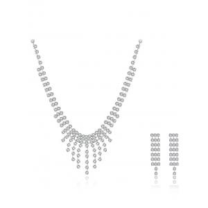 Layered Rhinestone Triangle Wedding Jewelry Set