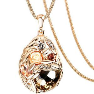 Faux Crystal Rhinestone Rose Water Drop Chain Pendant Necklace