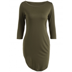 Casual Round Neck 3/4 Sleeve Side Slit T-Shirt Dress