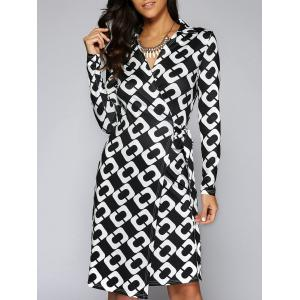 Tie Side Long Sleeve Graphic Surplice Dress - White And Black - M