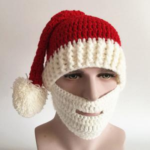 Christmas Knitted Beard Face Hat - Red