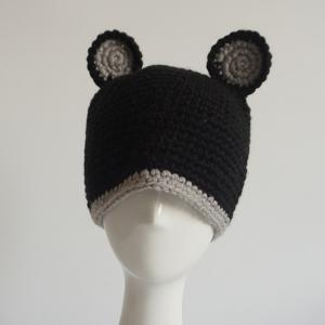 Bear Ear Knitted Animal Head Hat - Black - S