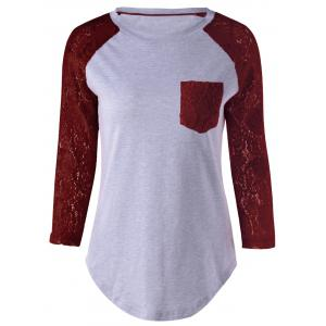 Plus Size Lace Splicing Single Pocket T-Shirt - Wine Red - 5xl