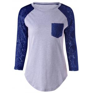 Plus Size Lace Splicing Single Pocket T-Shirt