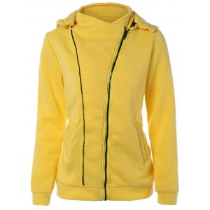 Asymmetric Zip Yellow Hoodie - Yellow - S